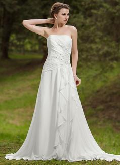 A-linjeformat Hjärtformad Chapel släp Chiffong Bröllopsklänning med Pärlbrodering Applikationer Spetsar Svallande Krås