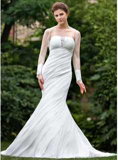 Mermaid Strapless Cathedral Train Taffeta Wedding Dress With Ruffle Lace Beadwork