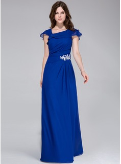 A-Line/Princess Floor-Length Chiffon Evening Dress With Appliques Lace Cascading Ruffles