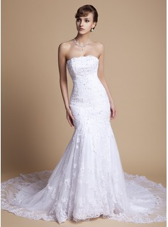 Trumpet/Mermaid Strapless Chapel Train Satin Tulle Wedding Dress With Ruffle Lace Beading Sequins