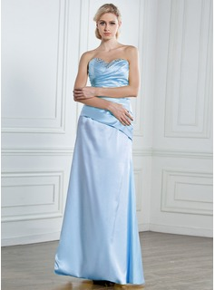 A-Line/Princess Sweetheart Floor-Length Satin Prom Dress With Ruffle Beading Sequins