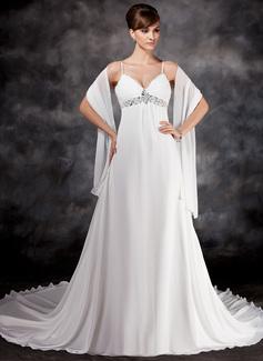 Väldet V-ringning Chapel släp Chiffong Bröllopsklänning med Rufsar Pärlbrodering Paljetter