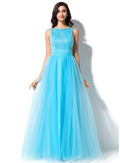 A-Line/Princess Scoop Neck Floor-Length Tulle Charmeuse Prom Dress With Lace Beading Sequins Bow(s)