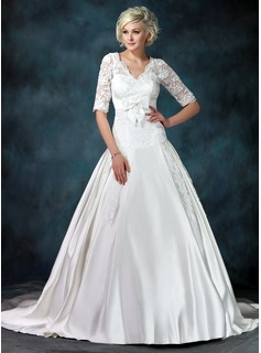 Ball-Gown V-neck Chapel Train Satin Wedding Dress With Ruffle Appliques Lace Bow(s)