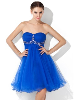 Empire Sweetheart Knee-Length Tulle Homecoming Dress With Ruffle Beading
