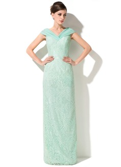 Kılıf Off-Omuz Uzun Etekli Chiffon Lace Gelin Annesi Elbisesi Ile Büzgü