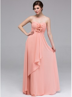 A-Line/Princess Sweetheart Floor-Length Chiffon Bridesmaid Dress With Flower(s) Cascading Ruffles