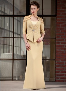 Sheath Sweetheart Floor-Length Chiffon Charmeuse Mother of the Bride Dress