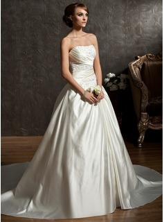Ball-Gown Sweetheart Chapel Train Satin Wedding Dress With Ruffle Beading