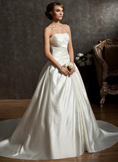 De baile Coração Cauda longa Cetim Vestido de noiva com Pregueado Bordado