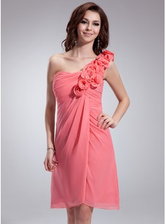 Empire One-Shoulder Knee-Length Chiffon Homecoming Dress With Ruffle Flower(s)