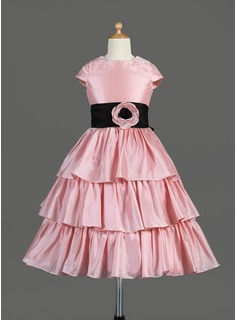 A-Line/Princess Tea-length Flower Girl Dress - Taffeta Sleeveless Scoop Neck With Ruffles/Sash/Flower(s)/Bow(s)