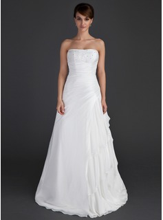 A-Line/Princess Strapless Floor-Length Chiffon Taffeta Wedding Dress With Beading Cascading Ruffles