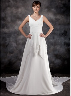 A-Line/Princess V-neck Watteau Train Chiffon Wedding Dress With Ruffle