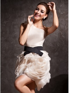 Sheath/Column One-Shoulder Short/Mini Organza Charmeuse Cocktail Dress With Ruffle Sash
