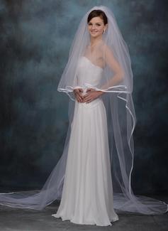 Dos capas Velos de novia catedral con Con lazo