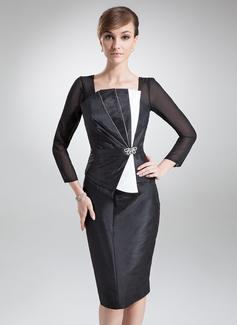 Sheath/Column Square Neckline Knee-Length Taffeta Mother of the Bride Dress With Ruffle Beading