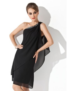 Sheath/Column One-Shoulder Knee-Length Chiffon Cocktail Dress With Beading