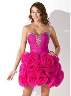A-Line/Princess Sweetheart Short/Mini Organza Homecoming Dress With Ruffle Beading Flower(s)