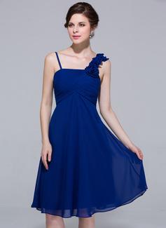 Empire Knee-Length Chiffon Bridesmaid Dress With Ruffle Flower(s)