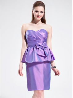 Sheath/Column Sweetheart Knee-Length Taffeta Bridesmaid Dress With Ruffle Bow(s) Cascading Ruffles