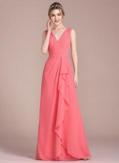 Трапеция/Принцесса V-образный Длина до пола шифон Платье Подружки Невесты с Ниспадающие оборки