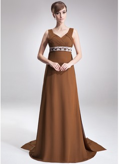 Imperialna Kochanie Tren Watteau Chiffon Suknia dla Mamy Panny Młodej Z Żabot Perełki