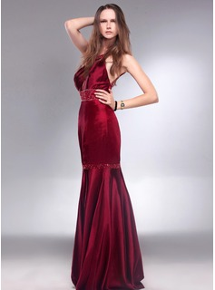 Trumpet/Mermaid Scoop Neck Floor-Length Charmeuse Evening Dress With Beading Sequins