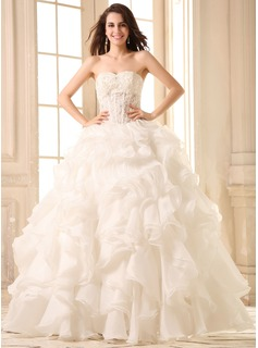 Ball-Gown Sweetheart Floor-Length Organza Wedding Dress With Lace Beading Cascading Ruffles