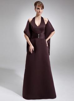 Kılıf Yular Uzun Etekli Satin Nedime Elbisesi Ile Büzgü Boncuklama