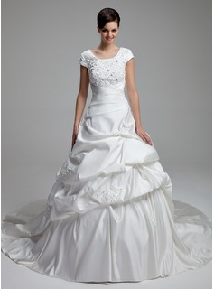 Ball-Gown Scoop Neck Cathedral Train Satin Wedding Dress With Lace Beadwork Sequins