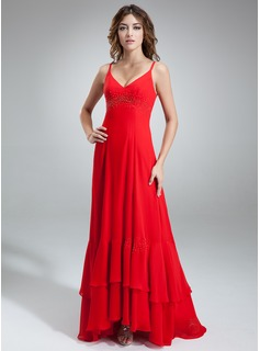A-Line/Princess V-neck Asymmetrical Chiffon Bridesmaid Dress With Beading