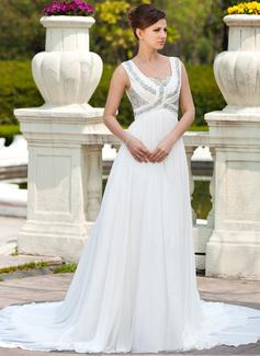 A-linjeformat Hjärtformad Chapel släp Chiffong Bröllopsklänning med Rufsar Pärlbrodering