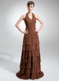 Çan/Prenses Yular Kuyruklu Chiffon Nedime Elbisesi