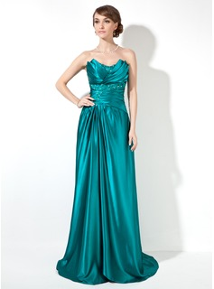 Sheath/Column Scalloped Neck Sweep Train Charmeuse Prom Dress With Ruffle Beading