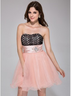 A-Line/Princess Sweetheart Short/Mini Organza Charmeuse Homecoming Dress With Ruffle Lace Beading