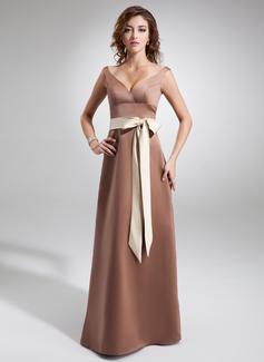 A-Line/Princess V-neck Floor-Length Satin Bridesmaid Dress With Sash Bow(s)