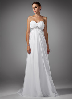 Empire Sweetheart Court Train Chiffon Wedding Dress With Ruffle (002004156)
