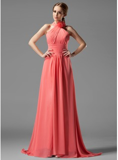A-Line/Princess Halter Sweep Train Chiffon Bridesmaid Dress With Ruffle Flower(s)