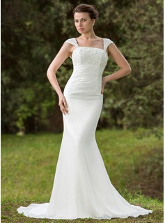 Mermaid Square Neckline Court Train Chiffon Wedding Dress With Ruffle Lace Beadwork Sequins