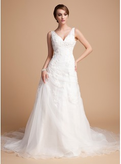 A-Line/Princess V-neck Chapel Train Organza Satin Wedding Dress With Ruffle Beading Appliques Lace