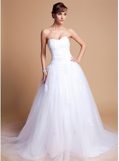 Ball-Gown Sweetheart Chapel Train Tulle Charmeuse Wedding Dress With Lace