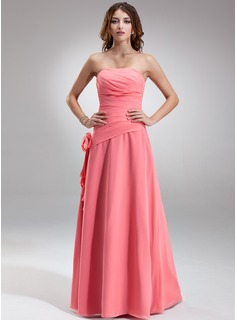A-Line/Princess Strapless Floor-Length Chiffon Bridesmaid Dress With Ruffle Flower(s)