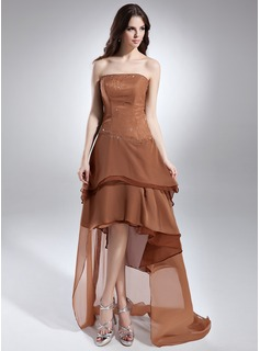 A-Line/Princess Strapless Asymmetrical Chiffon Prom Dress With Beading