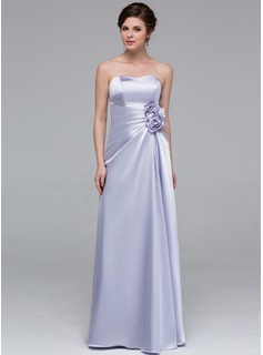 Sheath/Column Sweetheart Floor-Length Charmeuse Bridesmaid Dress With Ruffle Flower(s)