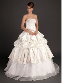 Ball-Gown Strapless Floor-Length Organza Satin Wedding Dress With Embroidery Beading Flower(s) Bow(s)