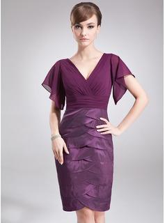 Sheath/Column V-neck Knee-Length Chiffon Taffeta Mother of the Bride Dress With Cascading Ruffles