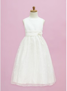 A-Line/Princess Scoop Neck Floor-Length Organza Satin Flower Girl Dress With Flower(s)