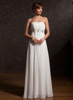 Imperialna Kochanie Do Podłogi Chiffon Suknia dla Mamy Panny Młodej Z Żabot Perełki