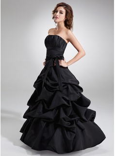 Ball-Gown Strapless Floor-Length Satin Quinceanera Dress With Ruffle Bow(s)
